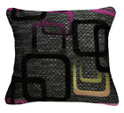 Qb303ba Fuschia Red Black Grey Linen Blend Checker Cushion Cover/Pillow Case