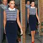 New Women's Celebrity Grid OL Style Business Party Pencil Cocktail Career Dress