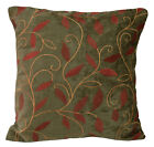 wh01a Olive Brown Leaf Embroidered Chenille Throw Pillow CASE/Cushion COVER*Size