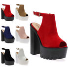 WOMENS CLEATED SOLE LADIES PLATFORM PEEP TOE CHUNKY HIGH HEEL SHOES SIZE 3-8