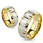 316L Stainless Steel Gold & Silver Edge Faceted Wedding Band Ring Size 5-14