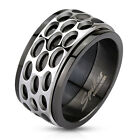 316L Stainless Steel Black Oval Patterned Spinner Band Men's Ring Size 9-13
