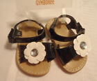 Gymboree Bee Chic Flower Black Sandals Shoes Velcro Strap Size 3 or 4 Choice NWT