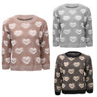 Womens Ladies Long Sleeve Chunky Knitted Heart Detail Pull Over Sweater Jumper