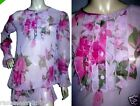 EX MONSOON PINK FLORAL LONG LINE CHIFFON TUNIC TOP BLOUSE SIZE 8 12 14