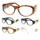 Womens Lion Coin Emblem Hinge Thick Plastic Oval Round Design Narrow Eye Glasses