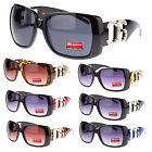 Womens CG Fashion Large Rectangular Plastic Thick Temple Diva Bling Sunglasses