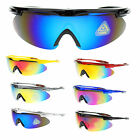 Mens XL Oversized Baseball Half Rim Sports Warp Around Color Mirror Sunglasses