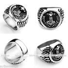 1pc Mens Stainless Steel Norse Thunder God Viking Thor's Hammer Ring Gift