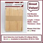"FLAT WOODEN (4.5"") LOLLIPOP STICKS / ICE CREAM / CRAFTS"