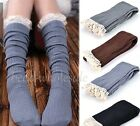 Crochet Lace Trim Cotton Knit Footed Leg Warmers Boot Socks Knee High Stockings
