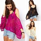 Womens Sexy Loose Off Shoulder Batwing Blouse Shirt Strap Lace Crochet Tops G94