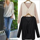 Chic Womens Loose V-neck Long Sleeve Casual Shirt Chiffon Tops Blouse T-shirt #S
