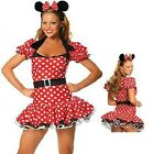 Ladies Minnie Mouse Fancy Dress Costume Halloween Sexy Outfit  Party Girl Red