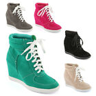 NEW LADIES WOMEN HI-TOP SNEAKER WEDGE LACEUP TRAINER ANKLE SHOE BOOT SIZE 3 -8