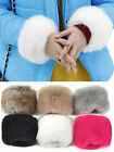 Women Lady Winter Warm Gloves Faux Rabbit Fur Fleece Wrist Cuff Band Bracelet