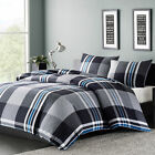 Mens Boys Teens Bedding Comforter Set Twin or Full/Queen Blue Gray White Plaid