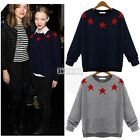 Women Casual Crew Neck Star Print Sweater Pullover Jumpers Knitwear Coat Tops B5