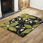 SMALL MEDIUM LARGE EXTRA LARGE FLOWER DESIGN BLACK GREEN HAND CARVED PP RUG