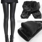 Womens Thick Black Fleece Lined Wet Look Faux Leather Leggings Winter Trousers