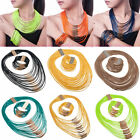 Fashion Gift Multilayers Rope Leather Chain Choker Necklace Bracelet Jewelry Set