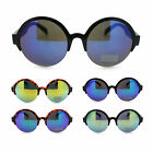 Womens Retro Trendy Circle Lens Round Half Rim Color Mirror Hipster Sunglasses