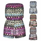 WOMENS STRAPLESS AZTEC FOIL ZIG ZAG STRIPED LADIES BANDEAU JUMPSUIT PLAYSUIT