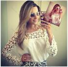 Women Girl Lace Chiffon Hollow Floral Long Sleeve Blouse Tops Shirt S M L XL XXL