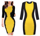 Sexy Women's Optical Illusion 3/4 Sleeve Floral Lace Party Bodycon Formal Dress