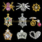 10x Spider Bike Crown Heart Design 3D Alloy Rhinestone Nail Art Decal Decoration