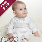 Baby Boys White Romper One Piece Suit Christening Baptism Wedding  Formal Suit