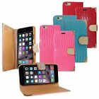 For iPhone 6 Plus 5.5 Inch Horizontal Bling Flip Crocodile Leather Case Cover
