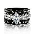 3.10Ct Marquise Cut Womens Black Stainless Steel Wedding Ring Band Set SZ 5-10