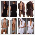 Sexy Men Lingerie sheer underwear Sleep Pyjamas Stretch Hood Sleveless Gown Robe
