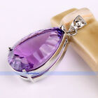 Genuine Large Drop Purple Amethyst .925 Sterling Silver Pendants | FJUS
