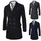 Winter Long Wool Trench Coat Jacket Mens Double Breasted Thick Formal Dress Tops