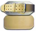 """4"""" Tan Leather Weight Lifting Belt Gym Training Back Support Power Lumber rrp£25"""