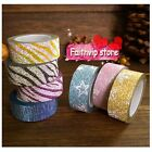 PAPER Glitter Washi Tape Masking Adhesive Deco Sticker Gift Card Craft Easy Tear