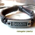 "Men Cool ""Dream"" New Age Leather Surfer Characters Hip Hop Bracelet Wristband"
