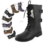 Women's Military Combat  Lace Up Ankle High Boots Credit Card Knife Holder Shoes