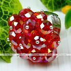 1pc Multi Faceted Crystal Glass Bead Flower Cocktail Finger Ring Jewelry #6543