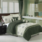 Grace Sage and Beige Luxury 7-Piece Micro Suede Comforter Set