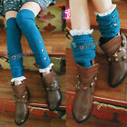 Fancy Leg Warmers Thigh Knee Lace With Rivets Knit Boot 5 Colors Legging Socks
