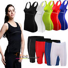 Women Sports Compression Base Layers Sleeveless Vest T-Shirts Tight Pants Shorts