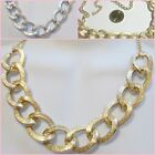 Gold or Silver Tone 18-20 inch Chunky Textured Chain Trendy Fashion Necklace