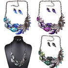 Fashion Peacock Tail Crystal Necklace Pendant Earring Set Statement Choker Gift