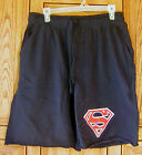 "Superman Logo DC Comics Cut Off Navy Blue 22"" Jam Fleece Sweatpants Shorts Adult"