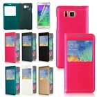 Flip Leather Front View Battery Back Cover Case For Samsung Galaxy Alpha G850F