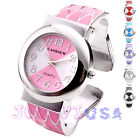 34mm Womens Silver-tone Enamel Cuff Bracelet Quartz Wrist Watch