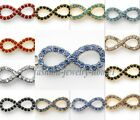 10pcs Nice New Crystal  Infinity Symbol Rhinestone Paved Alloy Connectors Charms